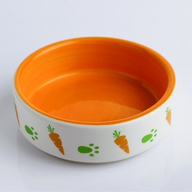 Ceramic bowl for rodents with two-tone carrots, 8.8 x 8.8 x 3 cm, orange-white