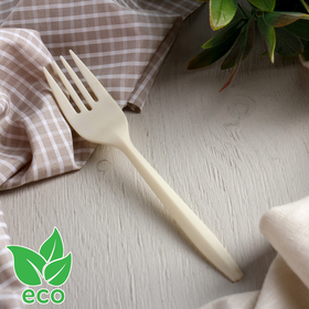 Fork of corn starch Nature, 15 cm, 6 PCs/pack