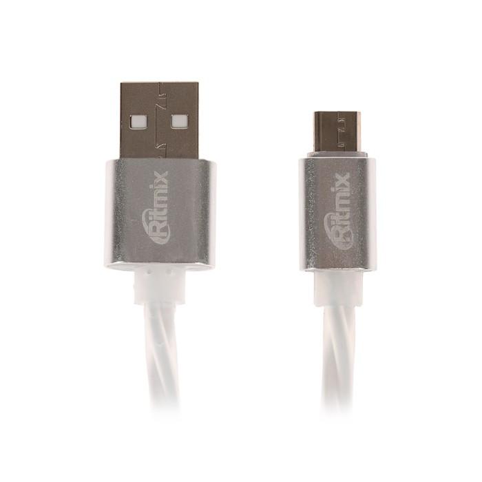Кабель Ritmix RCC-312, microUSB-USB, 2 А, для синхр/зарядки, силиконовая оплетка,1 м, белый