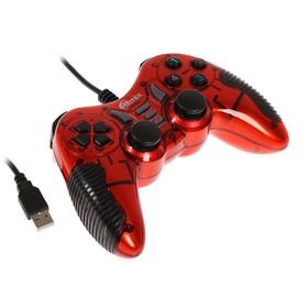 Геймпад Ritmix GP-007, проводной, для PC, виброотдача, USB, красный Ош