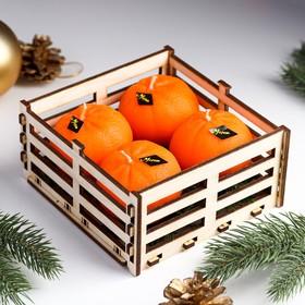 """Набор новогодних свечей """"Мандарины в ящике"""", 4 шт, 13,6×13,6×6,6 см"""