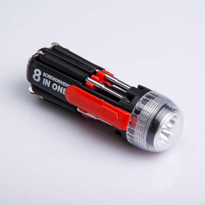 Фонарик 8 в 1 многофункциональный: 1 + 3 диода, 7 отвёрток, чёрный, зажим красный