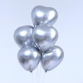 "Balloon, latex heart chrome 12"", set of 5 PCs, silver color"