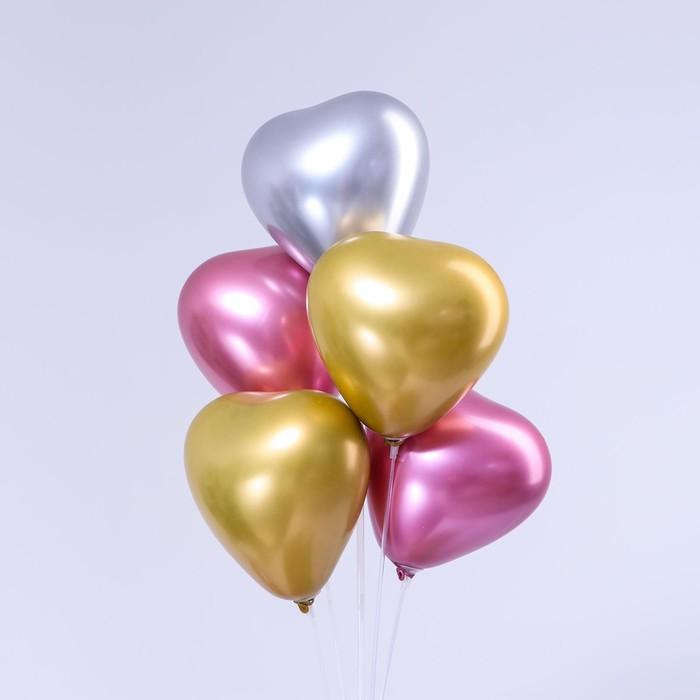 "Balloon, latex heart chrome 12"", set of 5 PCs, MIX"