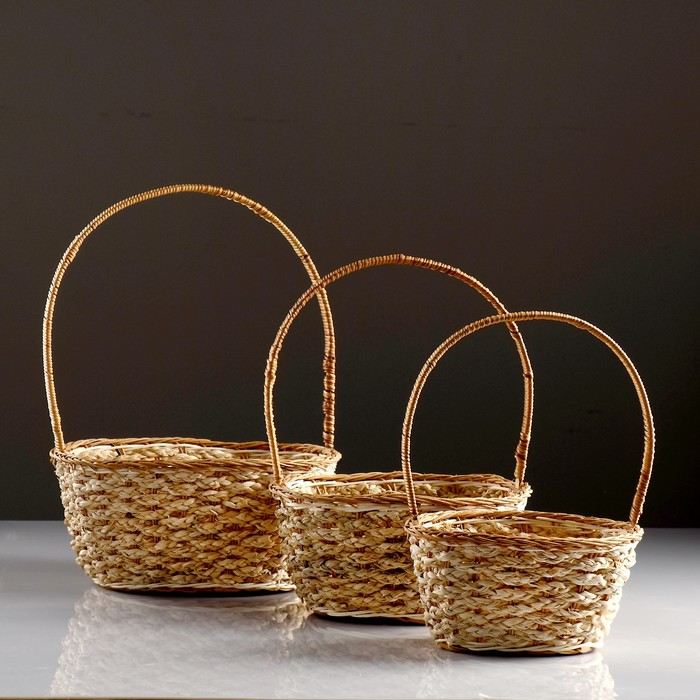 Набор корзин, 3 шт, 24×27×12/34 см, 20×24×11/33 см, 16×21×10/28 см, бамбук, кукуруза