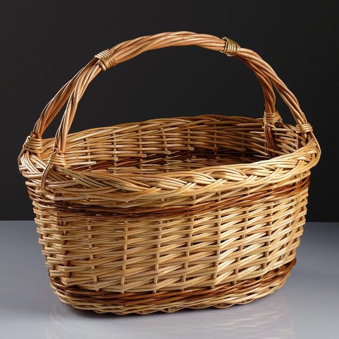 Корзина «Огородник», дно 35×21 см, верх 43×31 см, высота 22/37 см, ручное плетение, ива