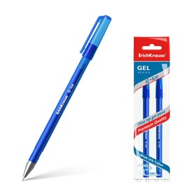 Set of gel pens 2 pieces G-Ice, 0.5mm needle pen, blue ink, writing line length 500 m, in a package with euro-suspension