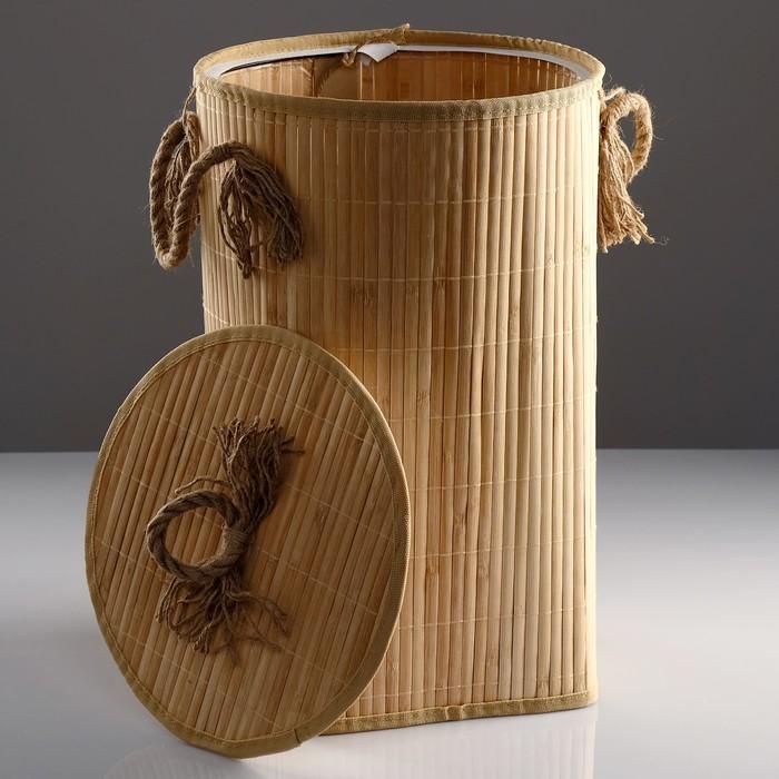 Корзина для белья, с крышкой и ручками, складная, 33×50 см, бамбук, джут - фото 4636651