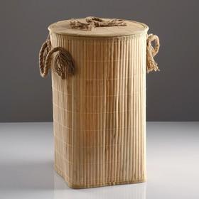 Корзина для белья, с крышкой и ручками, складная, 33×50 см, бамбук, джут - фото 4636652