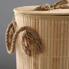 Корзина для белья, с крышкой и ручками, складная, 33×50 см, бамбук, джут - фото 4636653