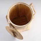 Корзина для белья, с крышкой и ручками, складная, 33×50 см, бамбук, джут - фото 4636654