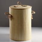 Корзина для белья, с крышкой и ручками, складная, 39×39×56 см, бамбук, джут