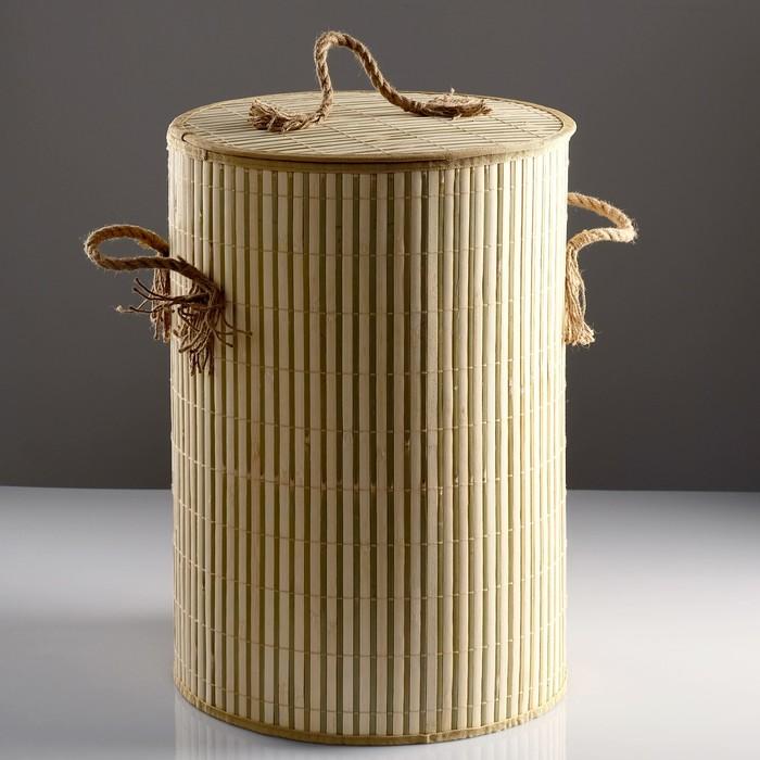 Корзина для белья, с крышкой и ручками, складная, 39×39×56 см, бамбук, джут - фото 677342