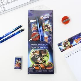 "Канцелярский набор в конверте ""Космическое приключение"", 5 предметов"