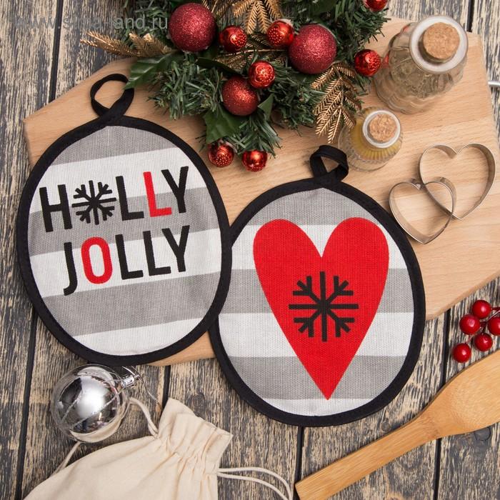 "Set oven gloves ""Holly Jolly"" 17х17см-2pc, 100% cotton 160 g/m2 matting"