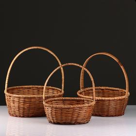 Набор корзин, 3 шт, 34×27×13/39, 30×24×11/34, 27×21×10/29 см, лоза, кукуруза