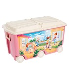 Ящик для игрушек на колёсах с декором, цвет розовый