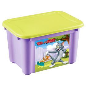 Ящик универсальный с аппликацией «Том и Джерри», цвет сиреневый