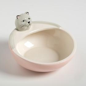"""Миска керамическая """"Ленивый кот"""", 250 мл, 12,6 х 12,5 х 8 см, розовая"""