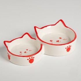 "Bowl ceramic ""family Cat"" double 50/100 ml white-red"