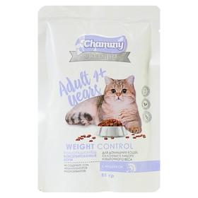 Влажный корм Chammy Premium для домашних кошек, склонных к полноте, индейка, 85 г
