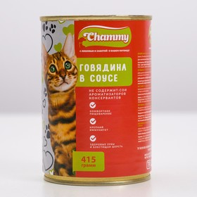 Влажный корм Chammy для кошек, говядина в соусе, ж/б, 415 г