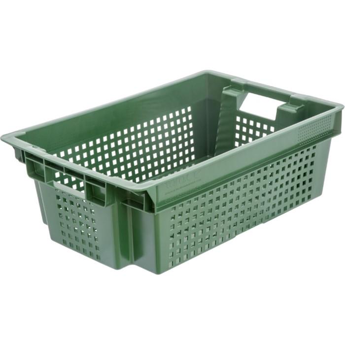Ящик овощной, конусный, перфорированный, 600х400х200 зеленый, вес 1,4 кг
