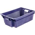 Ящик овощной, конусный, перфорированный, 600х400х200 синий, вес 1,4 кг