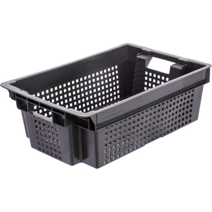 Ящик овощной, конусный, перфорированный, 600х400х200 черный, вес 1,4 кг