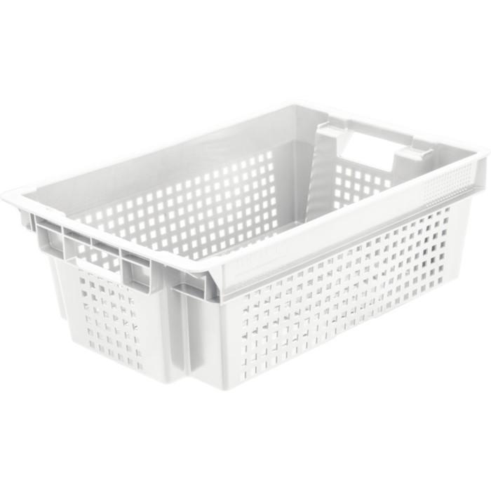 Ящик овощной, конусный, перфорированный, 600х400х200 белый морозостойкий, вес 1,4 кг