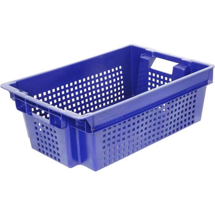 Ящик овощной, конусный с перфорацией, дно сплошное, 600х400х200 синий, вес 1,5 кг