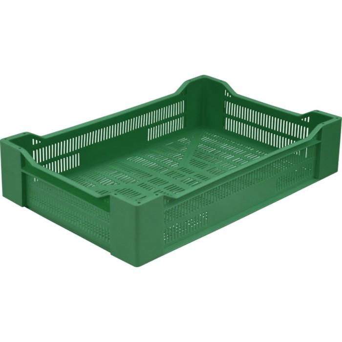 Ящик ягодный, перфорированный 600х400х135 зеленый