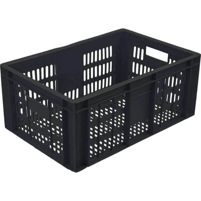Ящик колбасный, перфорированный, 600х400х250 черный, вес 1,6 кг