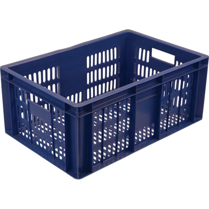 Ящик колбасный, перфорированный, 600х400х250 синий, вес 1,6 кг