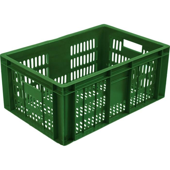 Ящик колбасный, перфорированный, 600х400х250 зеленый, вес 1,6 кг