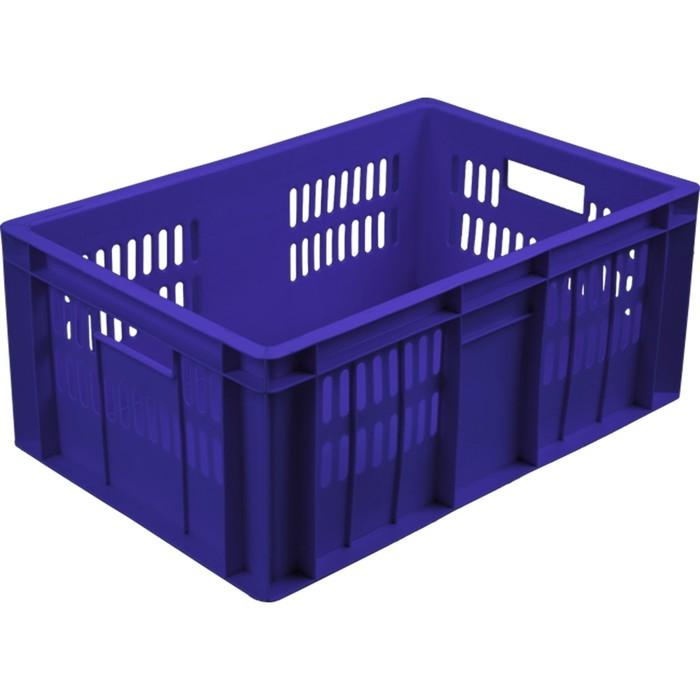 Ящик колбасный, перфорированный, дно сплошное 600х400х250 синий