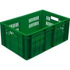 Ящик колбасный, перфорированный, дно сплошное 600х400х250 зеленый