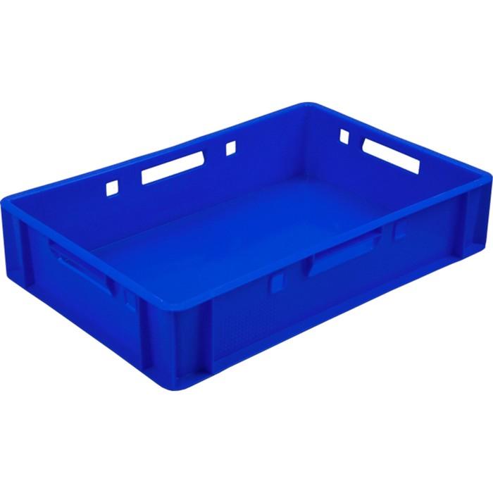 Ящик мясной Е1, сплошной, 600х400х120 синий, калиброванный 1,5 кг
