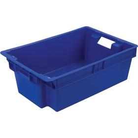 Ящик мясной, конусный, сплошной, 600х400х200 синий, вес 1,6 кг