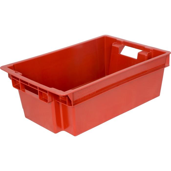 Ящик мясной, конусный, сплошной, 600х400х200 красный, вес 1,6 кг