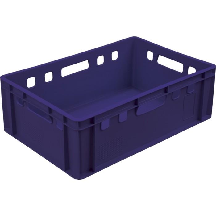 Ящик мясной Е2, сплошной, 600х400х200 синий калиброванный 2,0 кг