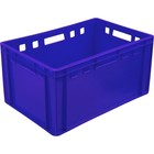 Ящик мясной Е3, сплошной, 600х400х300 синий калиброванный 2,5 кг