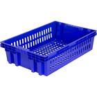 Ящик хлебный евролоток, конусный, перфорированный синий вес 1,2 кг.