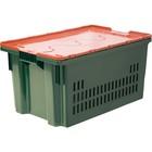 Ящик Safe PRO, перфорированный, дно сплошное, 600х400х300 зеленый с оранжевой крышкой