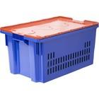 Ящик Safe PRO, перфорированный, дно сплошное, 600х400х300  синий с оранжевой крышкой