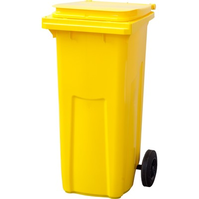 Мусорный контейнер на 2-x колесах с крышкой 120 л желтый