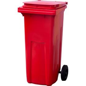 Мусорный контейнер на 2-x колесах с крышкой 120 л красный Ош