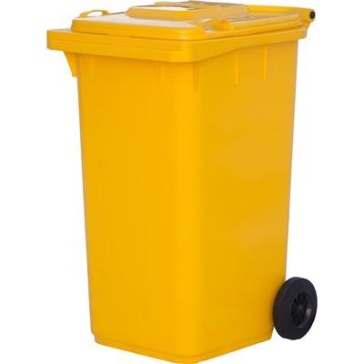 Мусорный контейнер на 2-x колесах с крышкой 240 л желтый