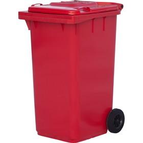 Мусорный контейнер на 2-x колесах с крышкой 240 л красный Ош