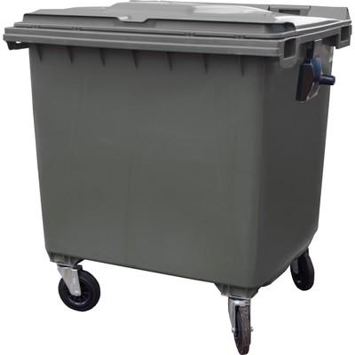 Мусорный контейнер на 4-x колесах с крышкой 1100 л серый